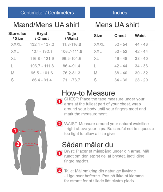 Under Armour shirts size chart centimeters